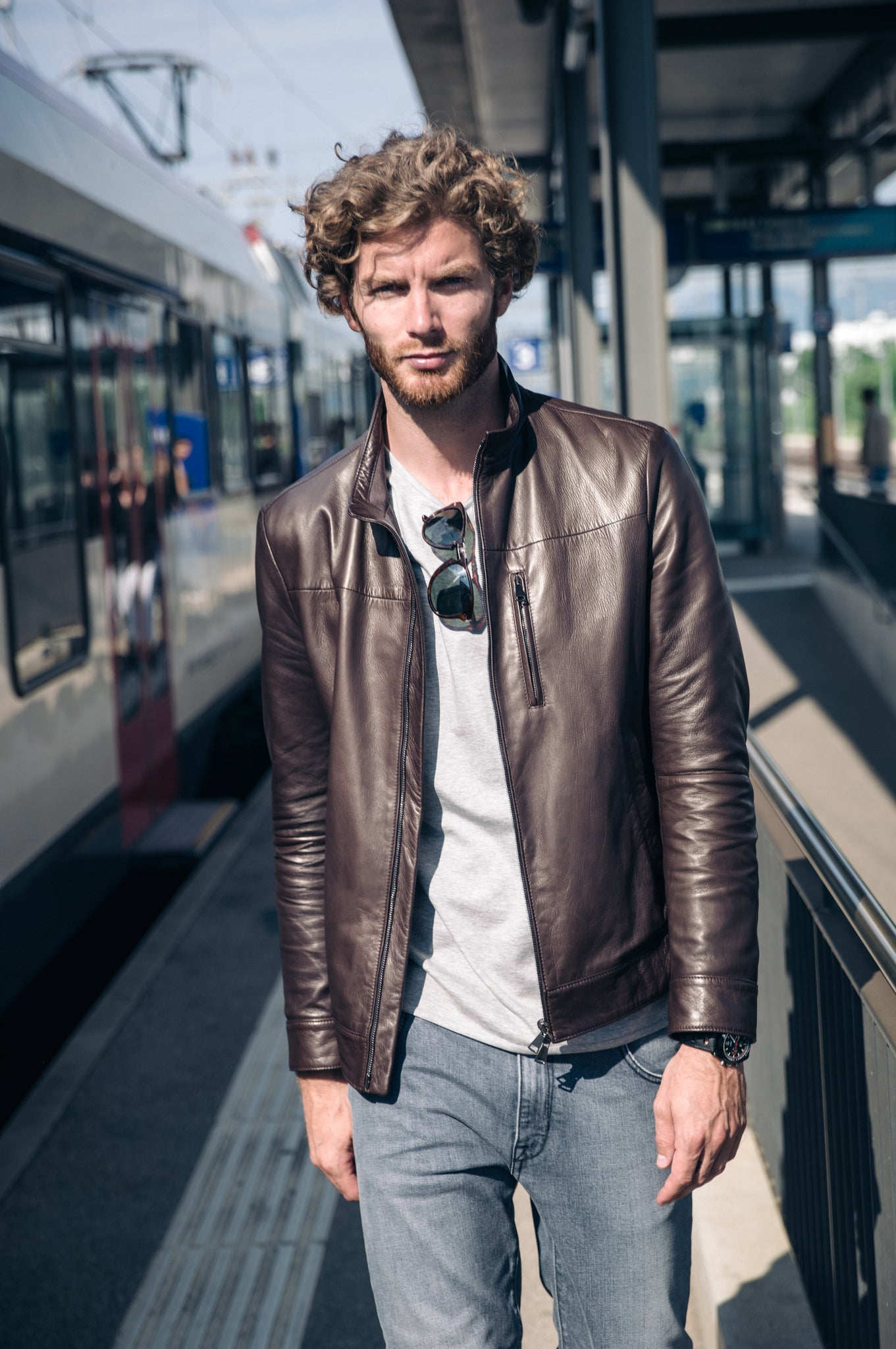 Leon leather bomber jacket (mountain brown)