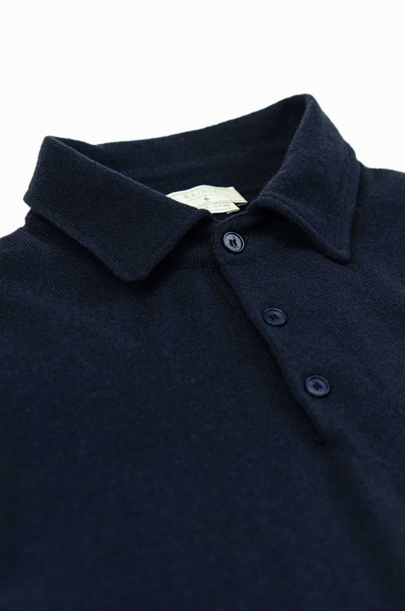 Dominic long sleeved knitted polo in high cashmere (Dark Blue)