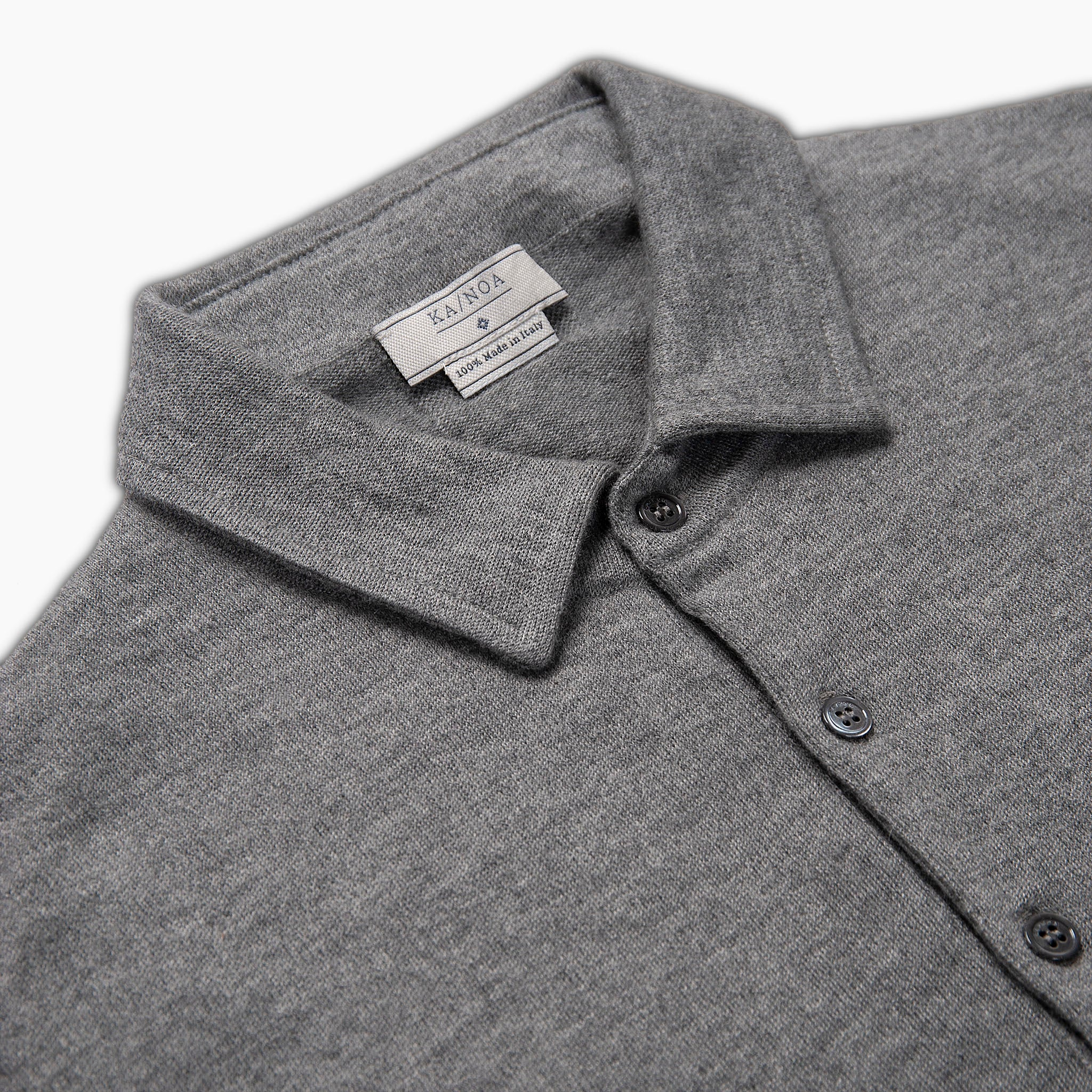 Dominic long sleeved knitted polo in high cashmere (Urban grey)