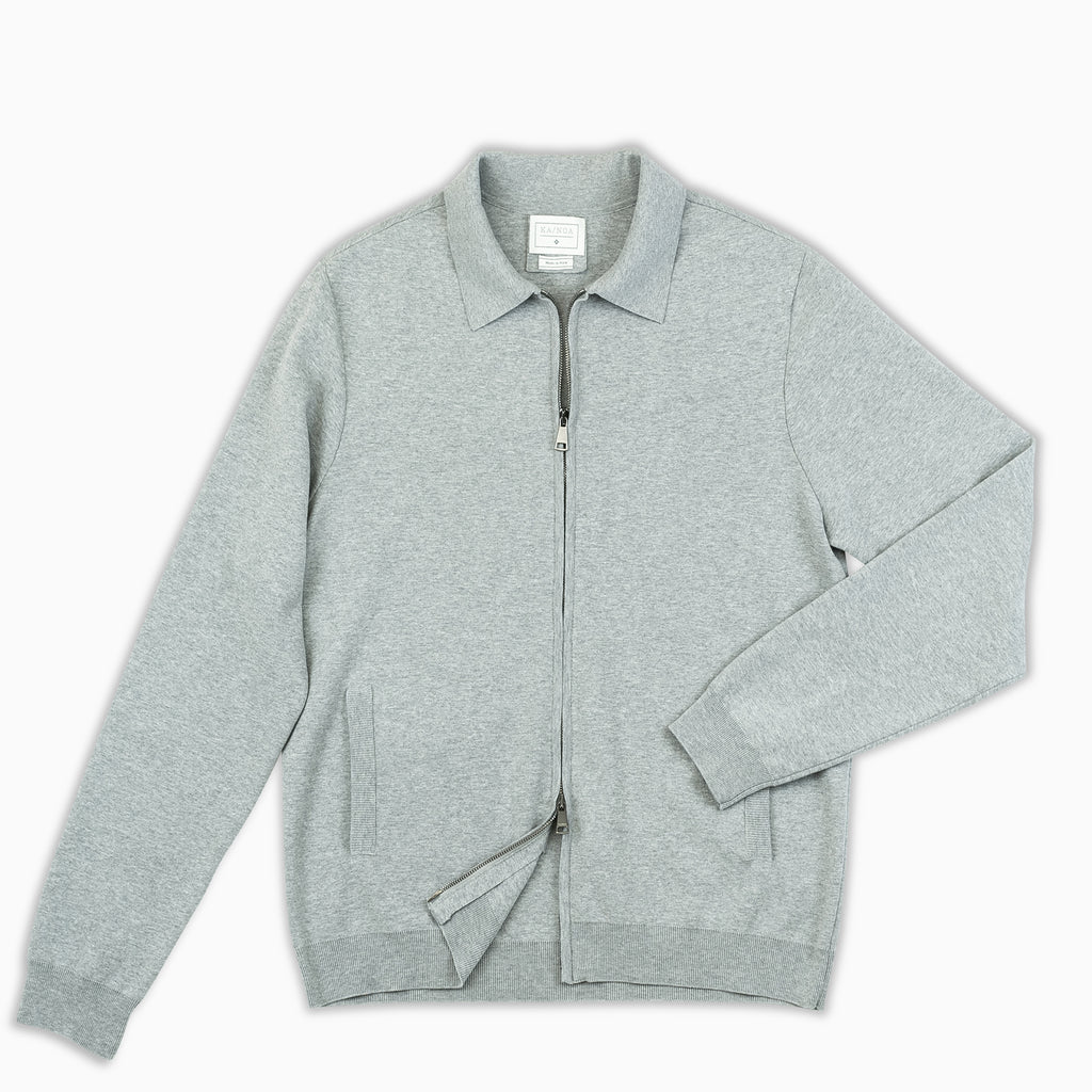 Francois knitted full-zip blouson in compact Egyptian cotton (stone grey)