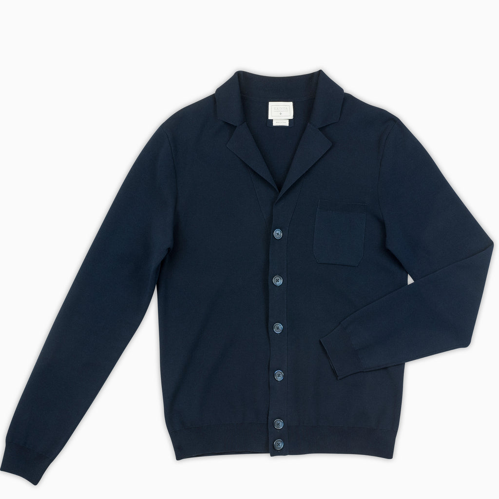 Friederic knitted cardigan in compact Egyptian cotton (dark blue)