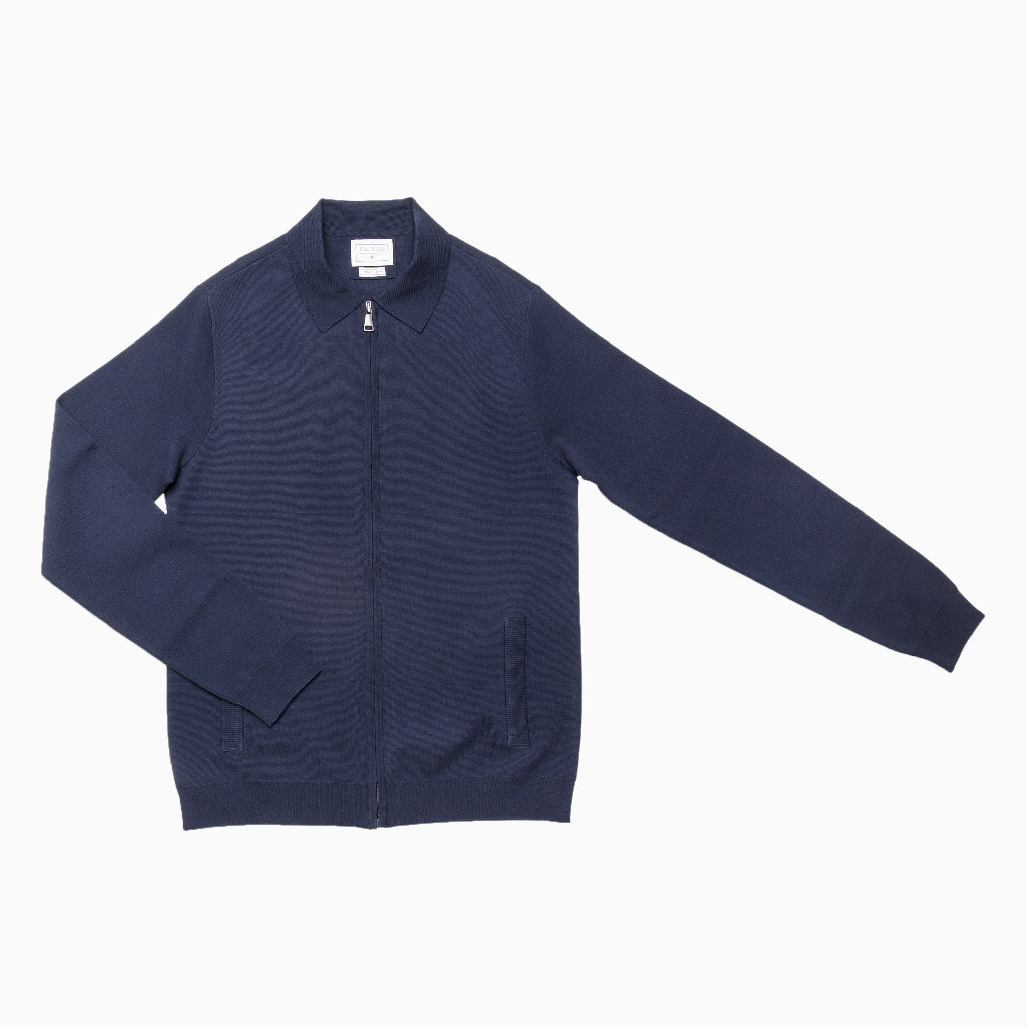 Francois knitted full-zip blouson in compact Egyptian cotton (dark blue)