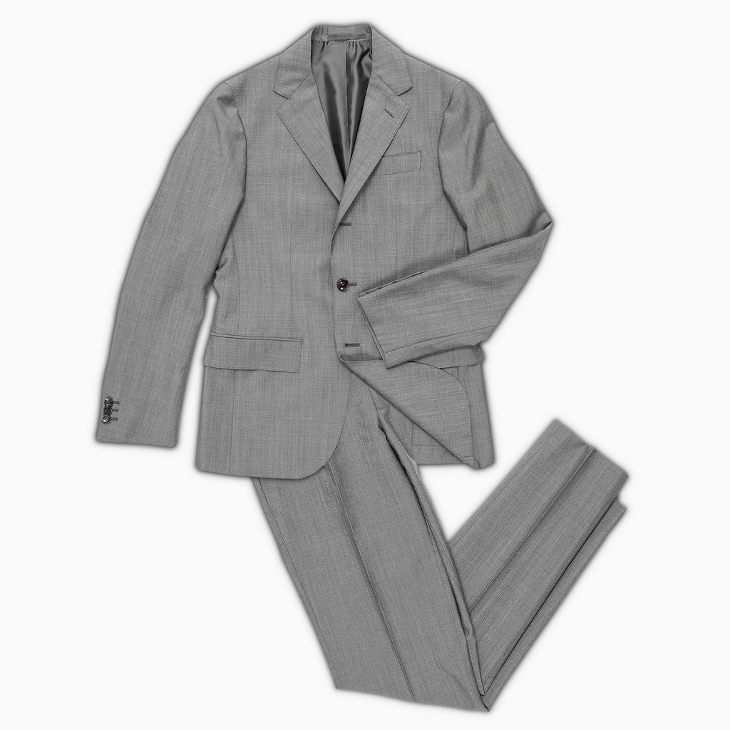 Suit Gaston Blazer and Flavien Pant in panama wool and mohair (grey melange)