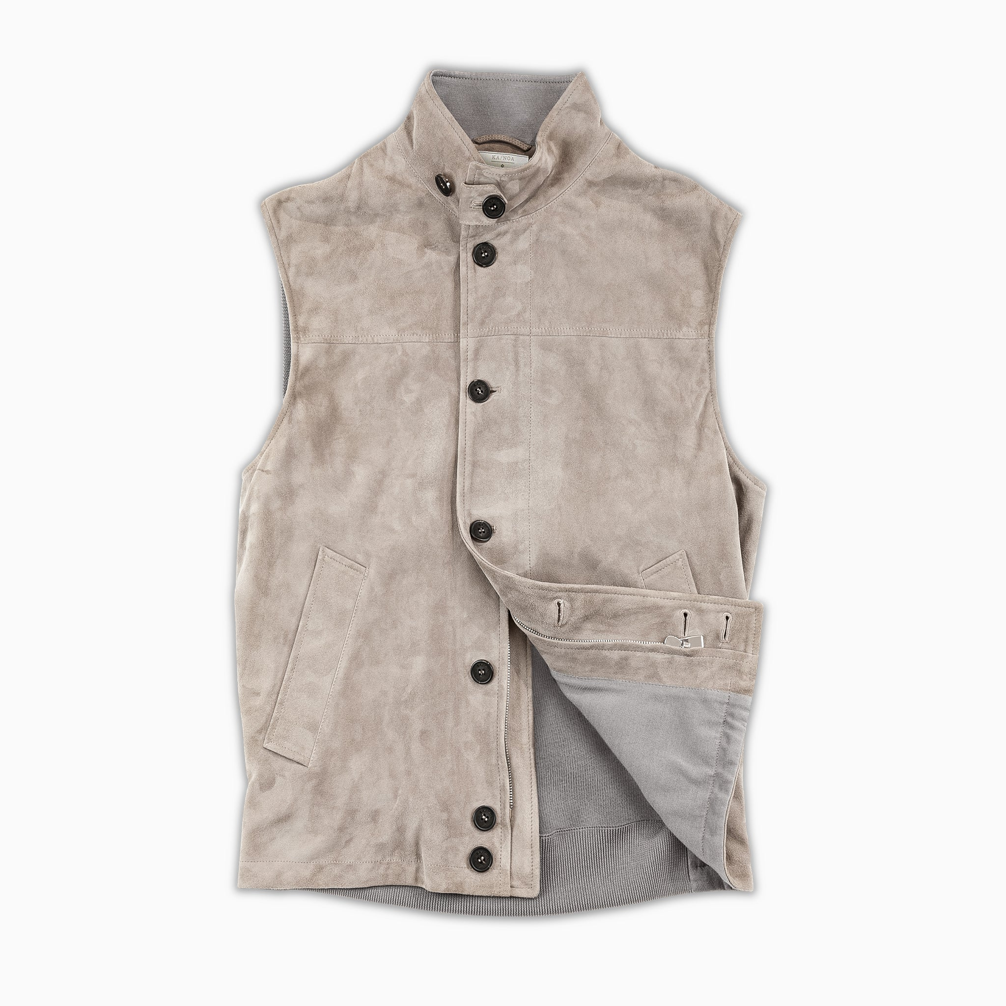 Henry Leather and Woollen Gillet (Cord and Mud Grey)