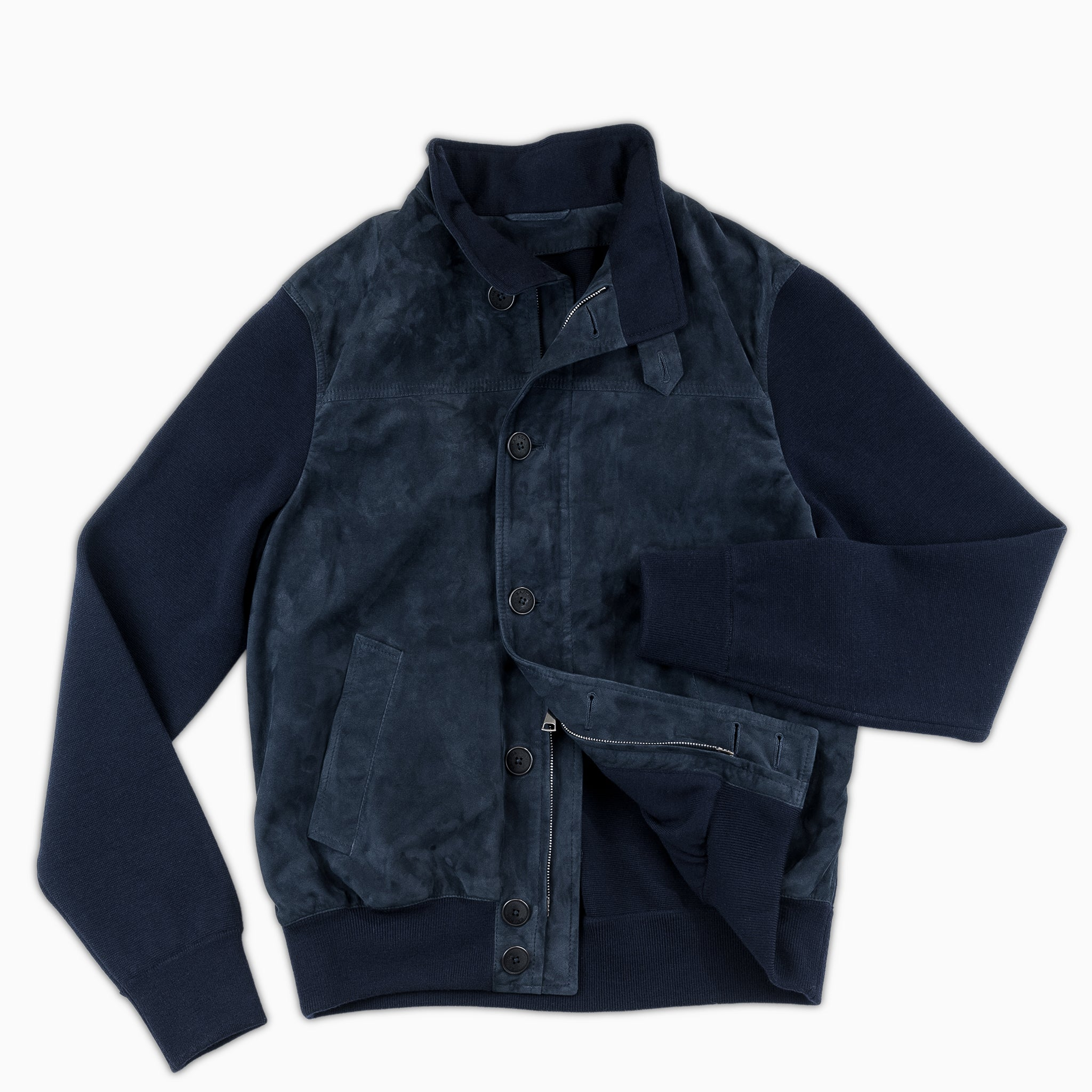 Honoré Leather and Woollen Bomber (dark blue)