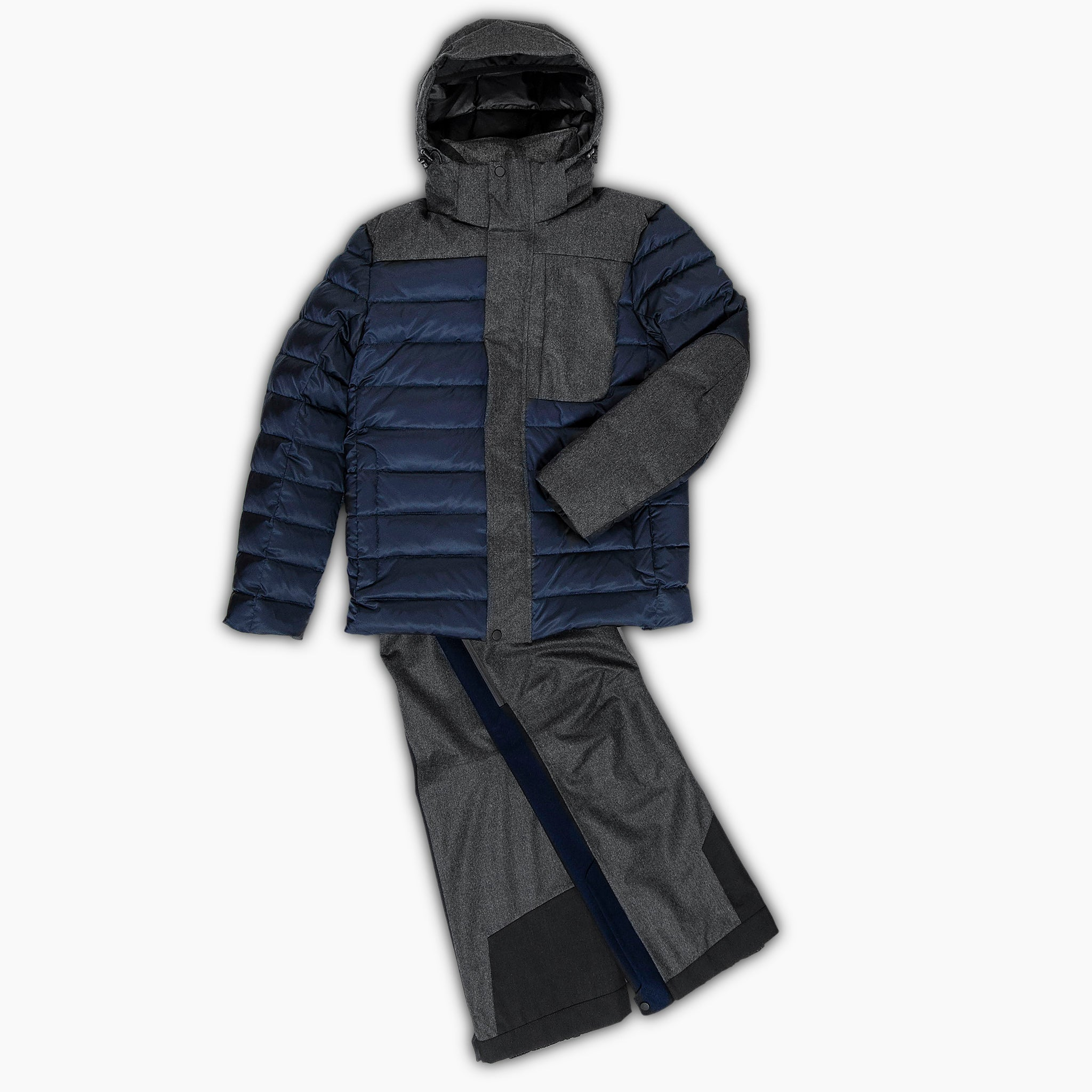 Herevé winter hybrid down ski jacket two tones (dark blue/grey melange)