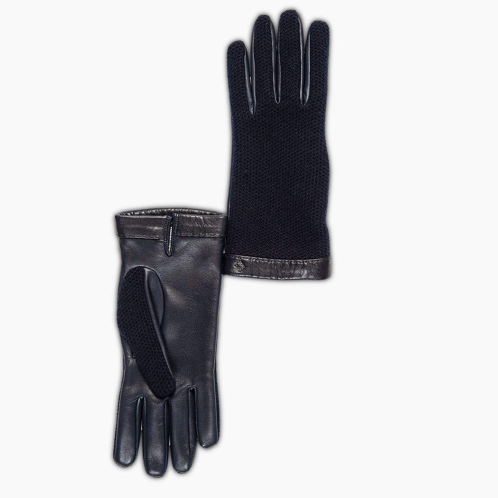 Hugo Leather gloves-cashmere knit and soft nappa (dark blue)