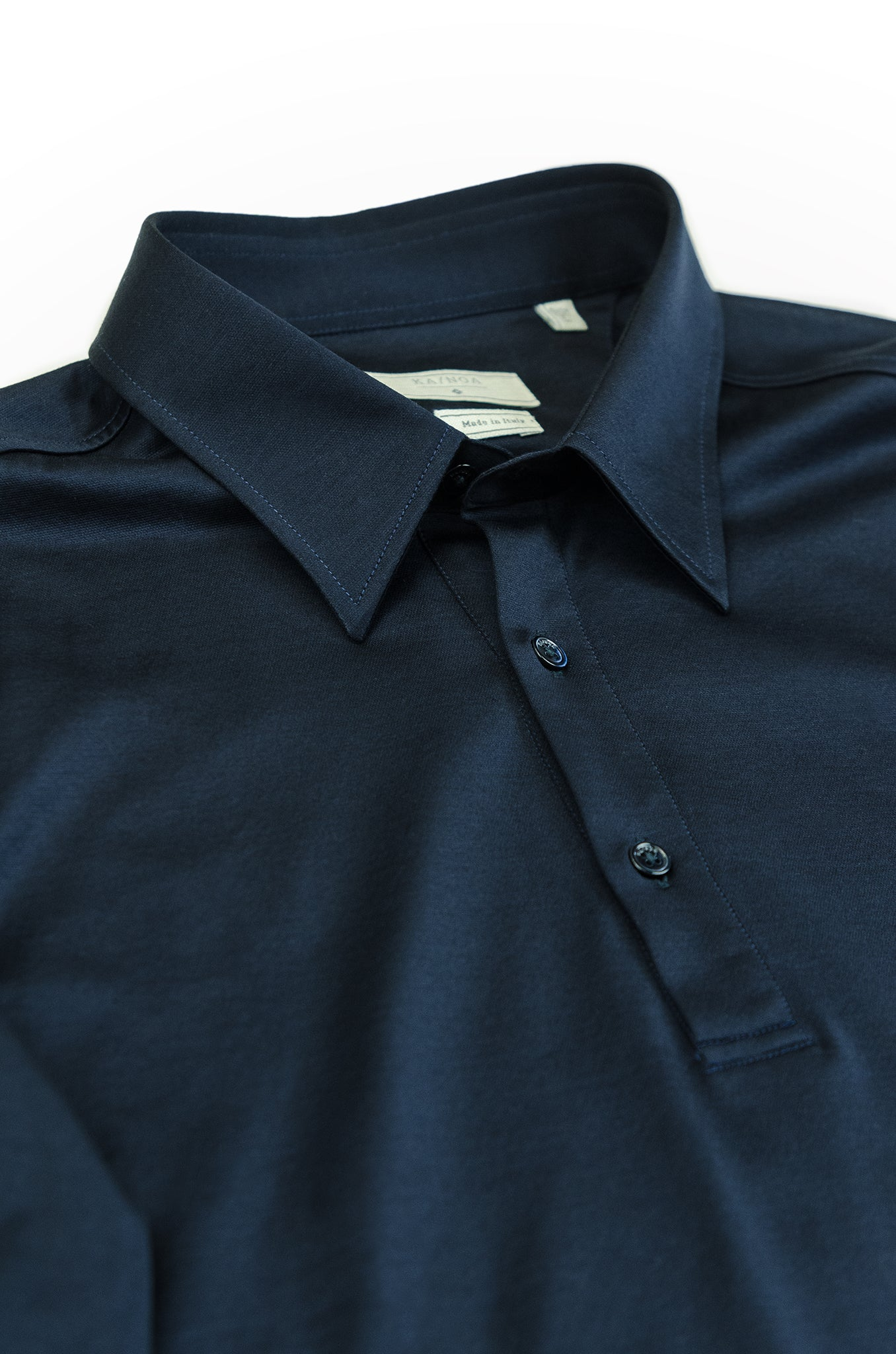 Jean long-sleeved polo in fine jersey (dark blue)