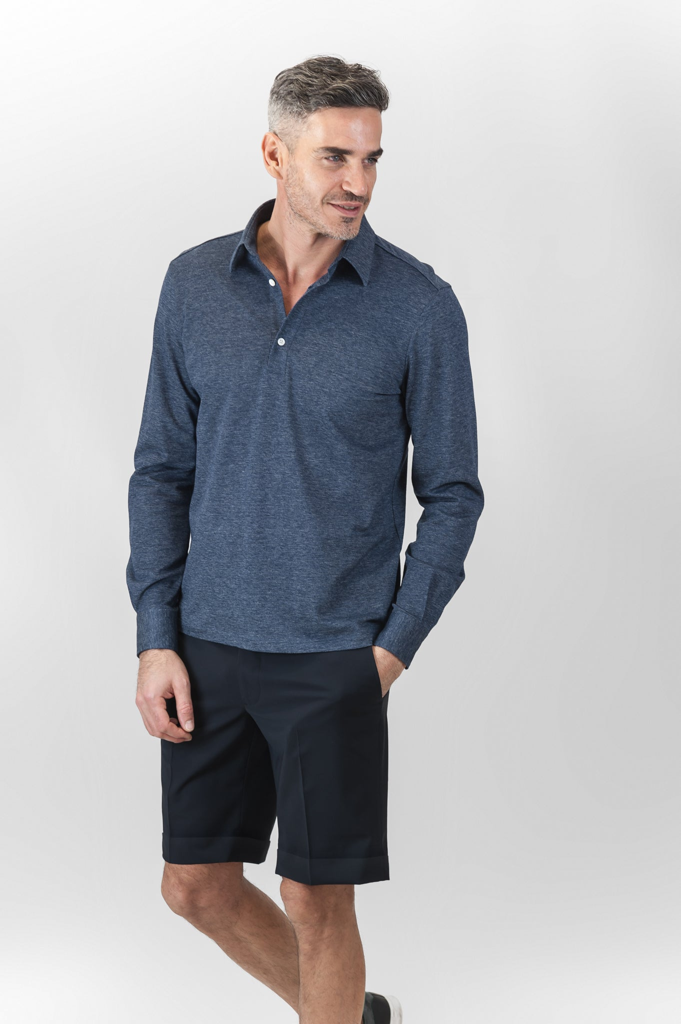 Bazile Folded Bermuda stretch light wool (dark blue)