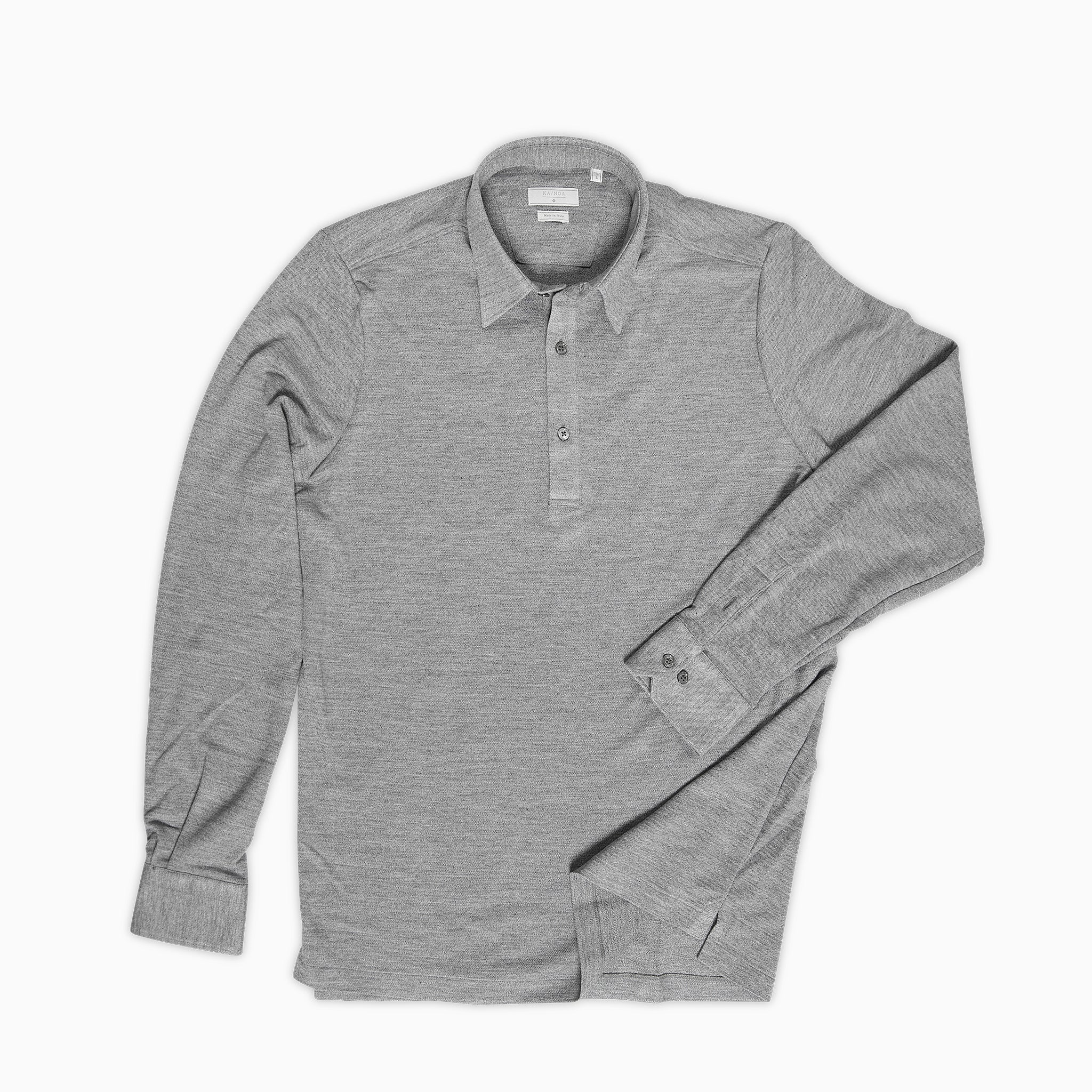 4d5dba80637 Jean Polo Shirt Silk and Cotton (stone grey melange) — KA NOA