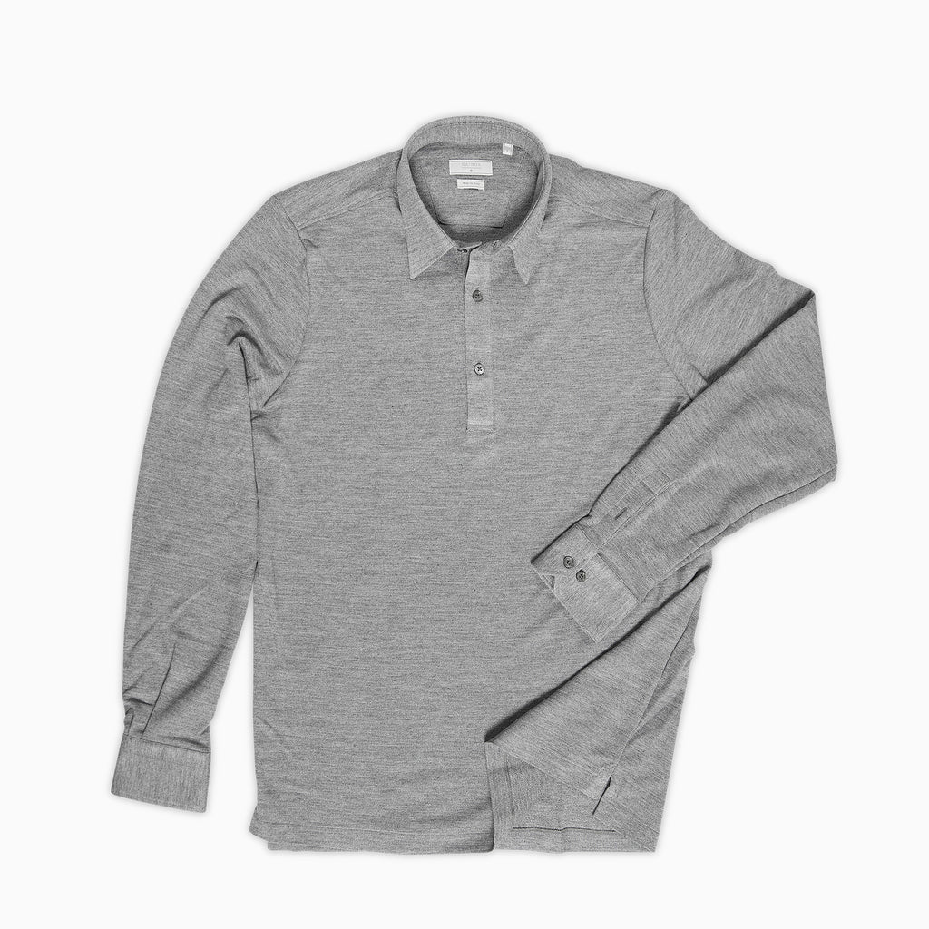 Jean Polo Shirt Silk and Cotton (stone grey melange)