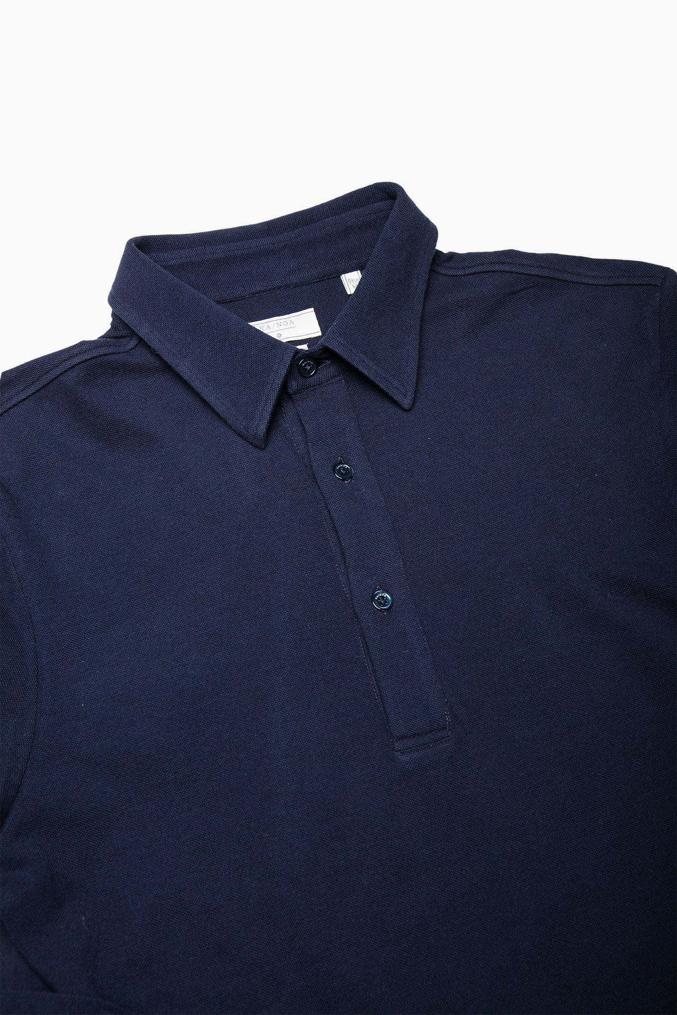 Jean long-sleeved polo in compact fine piquet (dark blue)