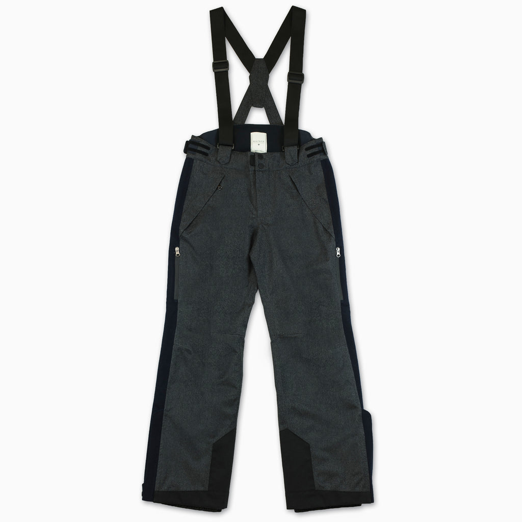 Kilian ski pants in laminated virgin wool (dark grey melange)