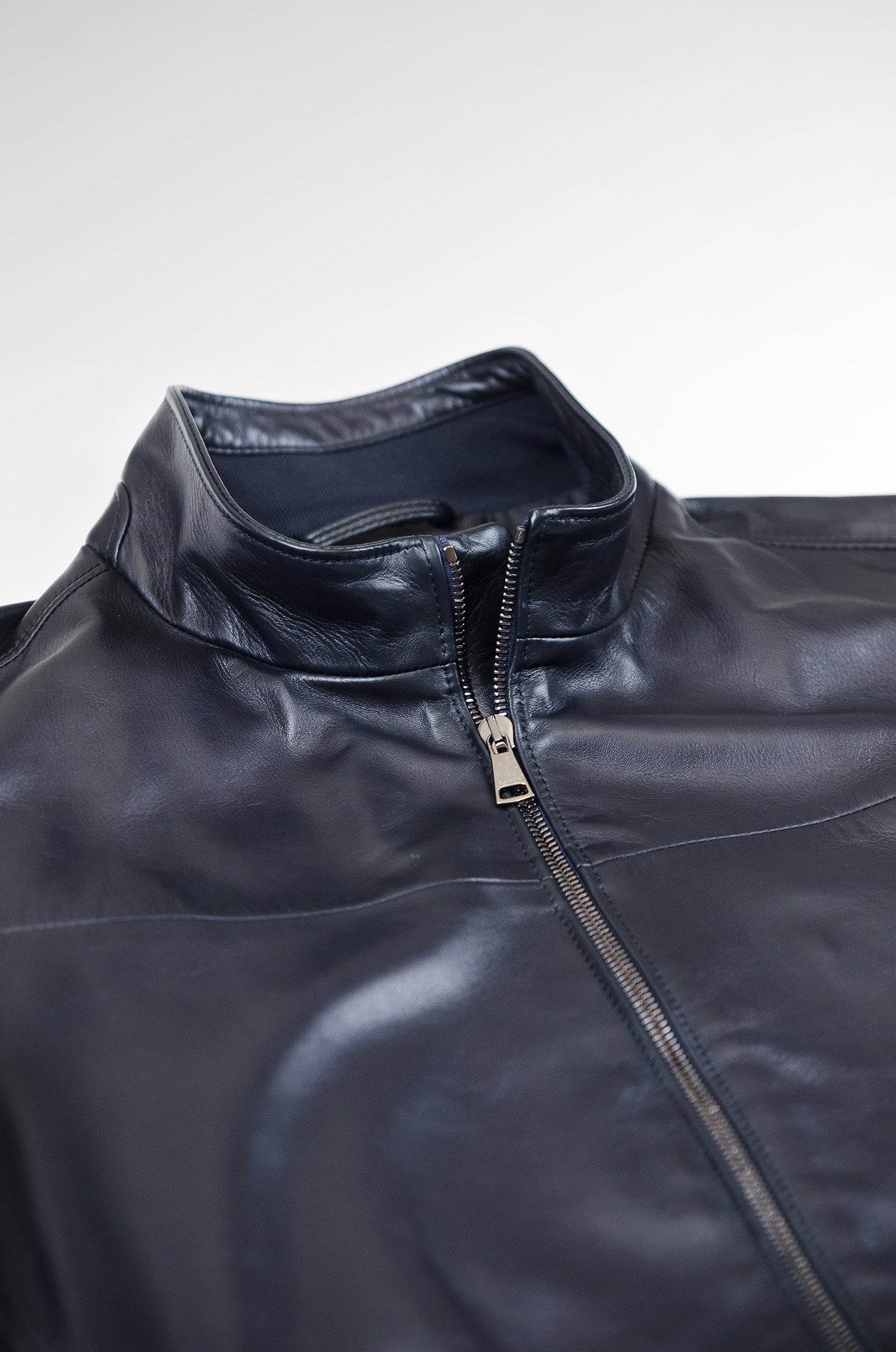 Leon leather bomber jacket (dark blue)