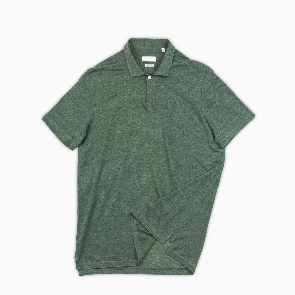 Loran short-sleeved polo in light-linen jersey (foliage green)