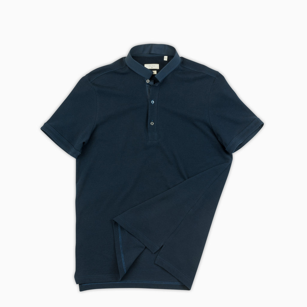 Martin short-sleeved polo in compact-fine piquet (dark blue)
