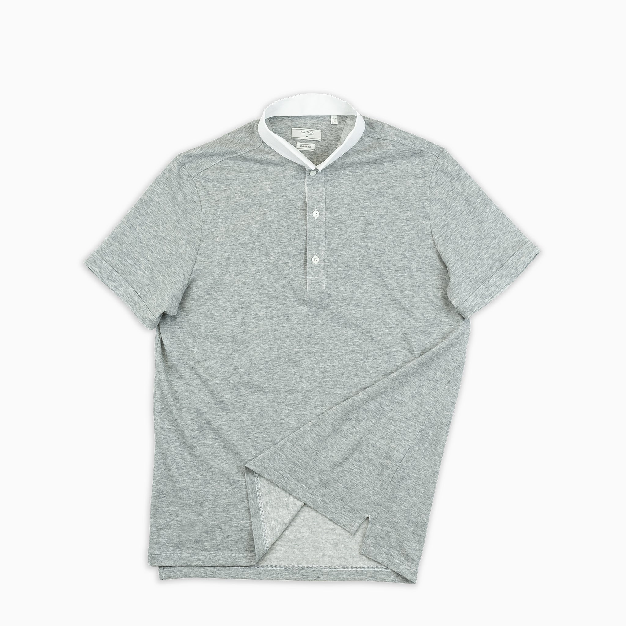 Martin short-sleeved polo in maxi-jersey linen/cotton (stone grey)