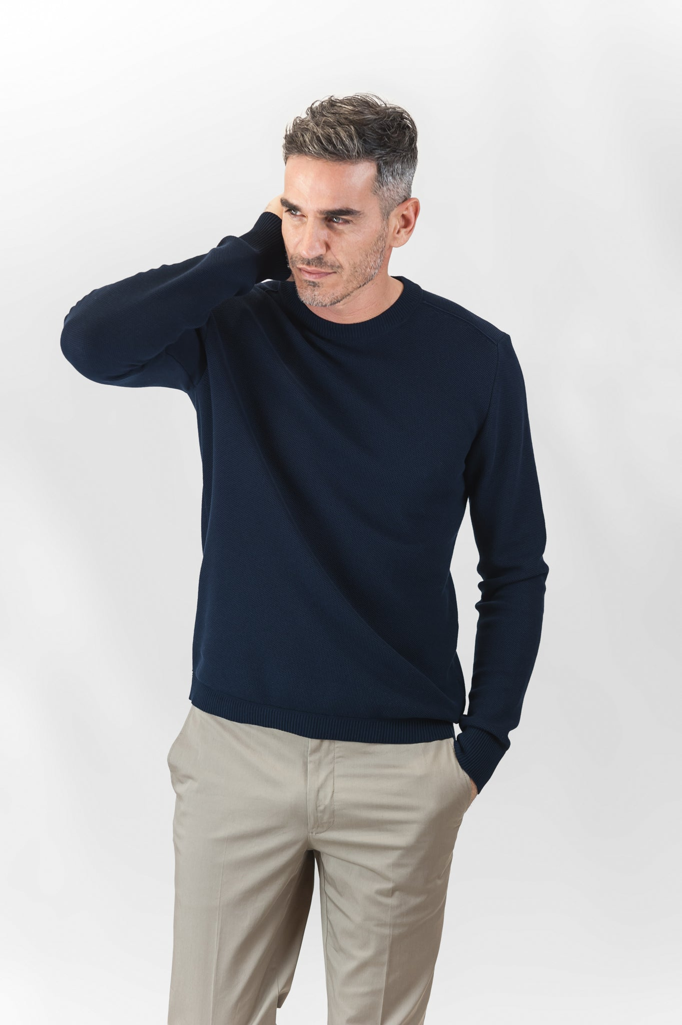 Massimen crew-neck jumper Compact Cotton (dark blue)