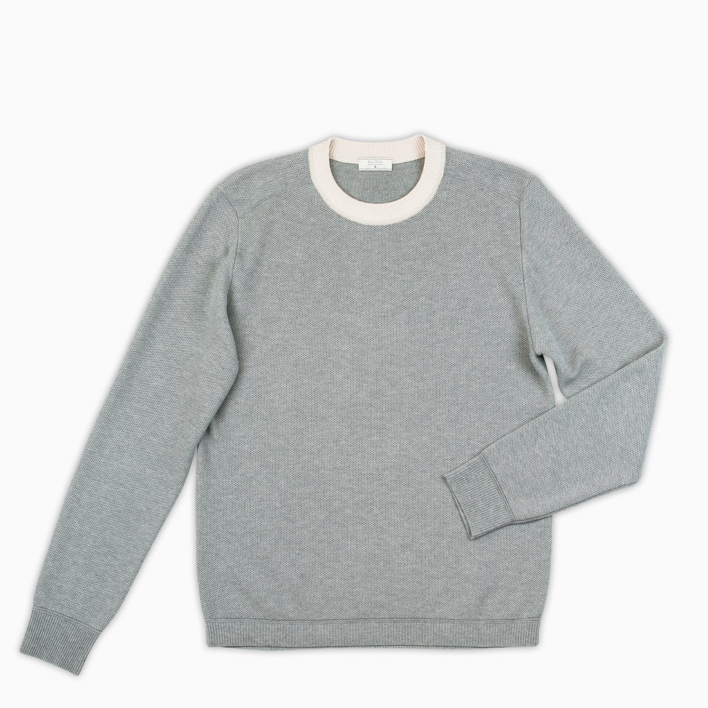 Massimen crew-neck jumper compact cotton (stone grey melange)