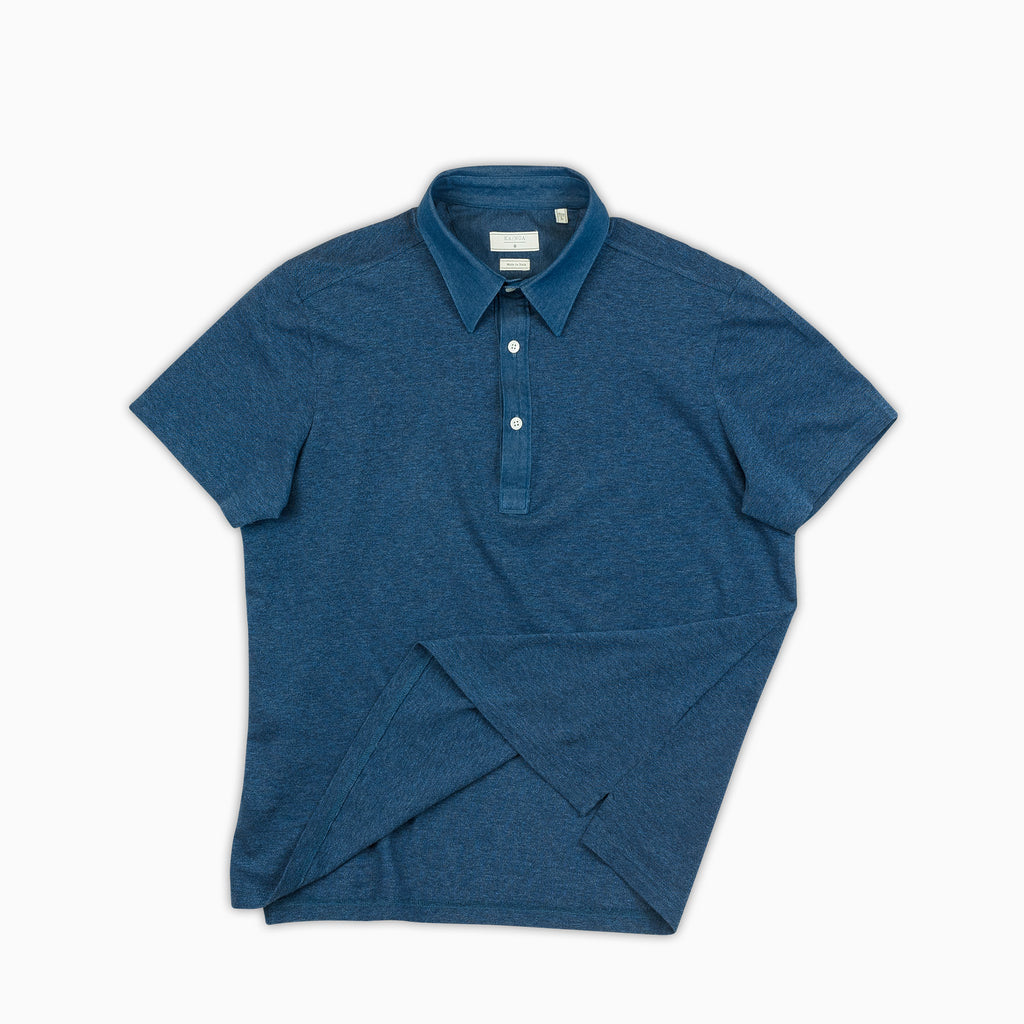 Mathieu short-sleeved polo in basic denim pique (ocean blue)