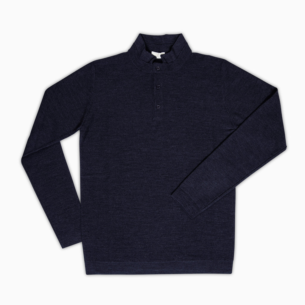 Moré Long sleeved knitted polo Superfine Merino Wool (dark blue)