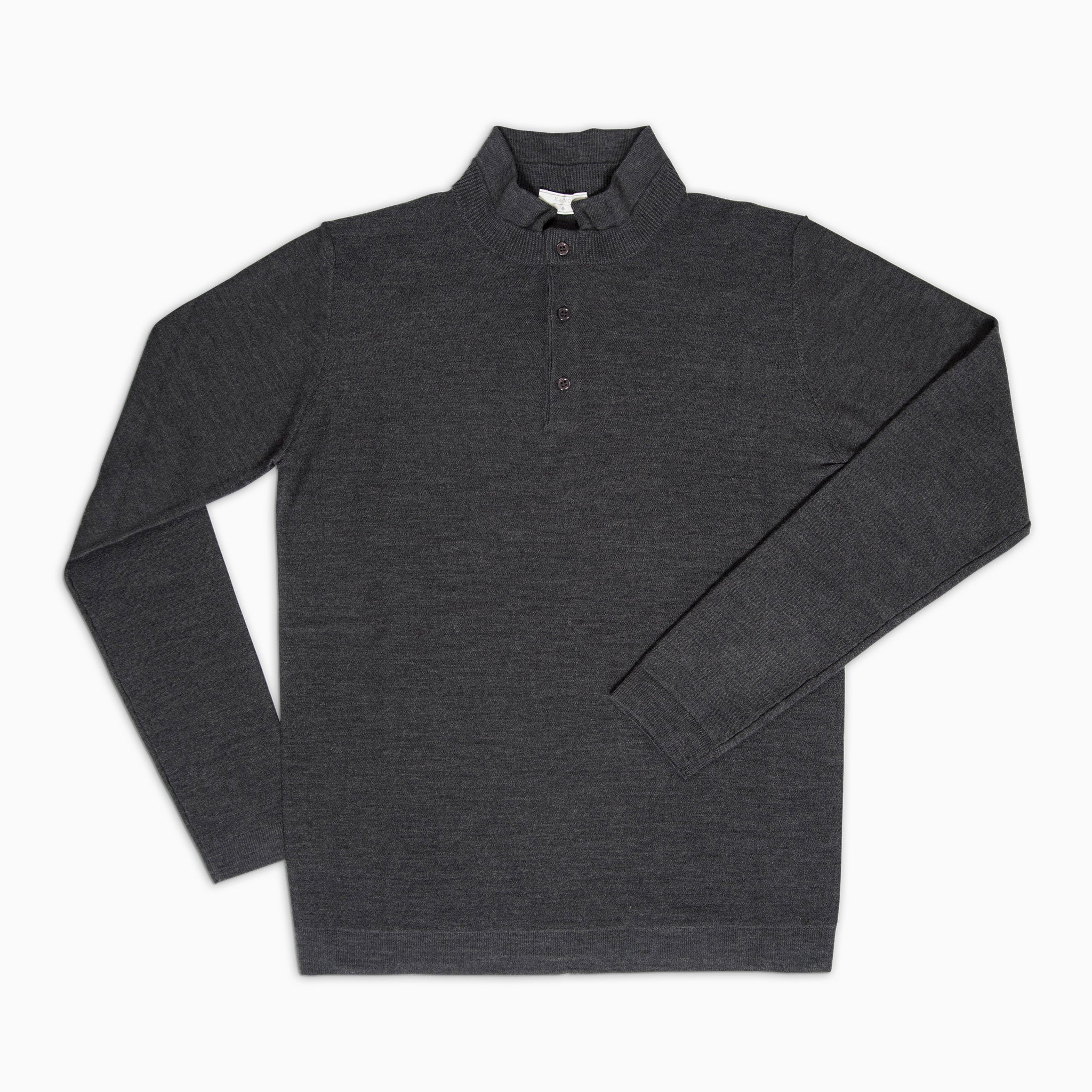 Moré Long sleeved knitted polo Superfine Merino Wool (dark grey)