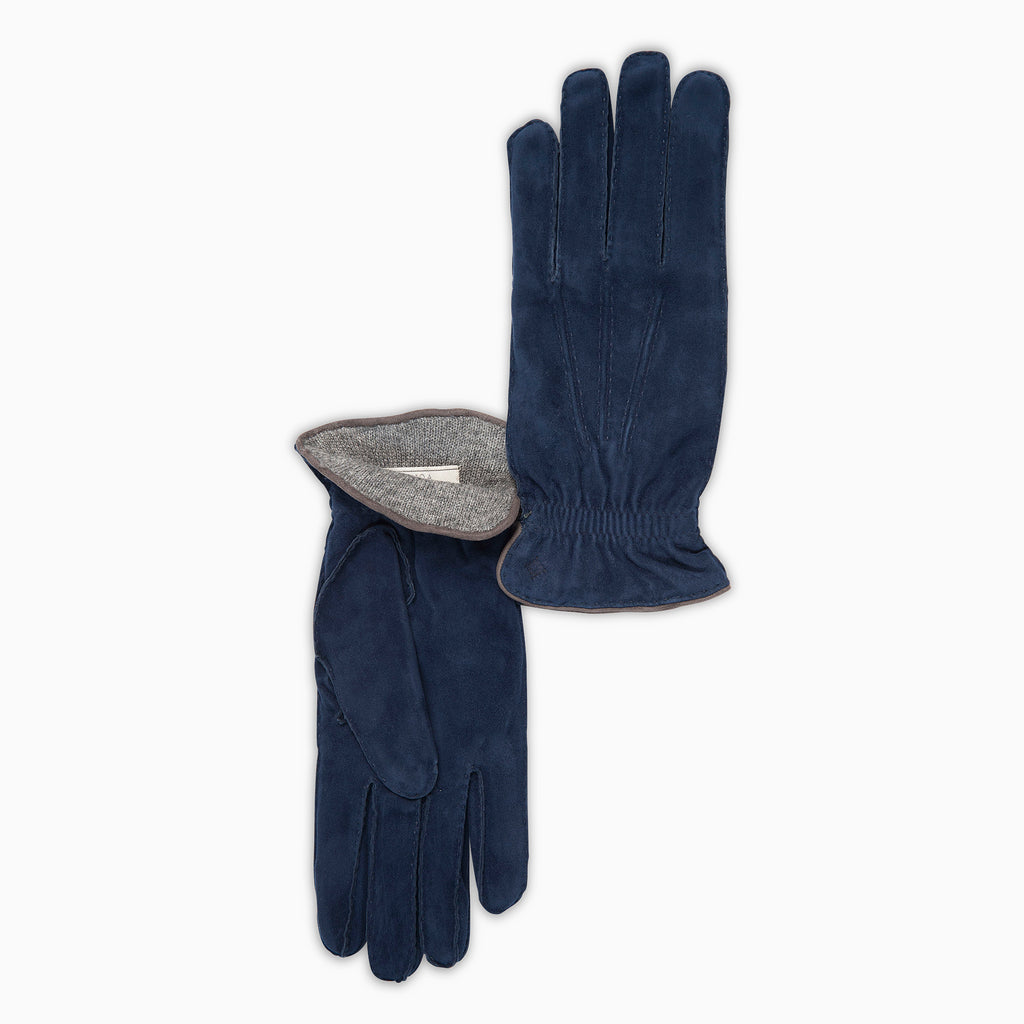 Pierrot 100% Suede Leather and Interior in Cashmere Gloves (blue)
