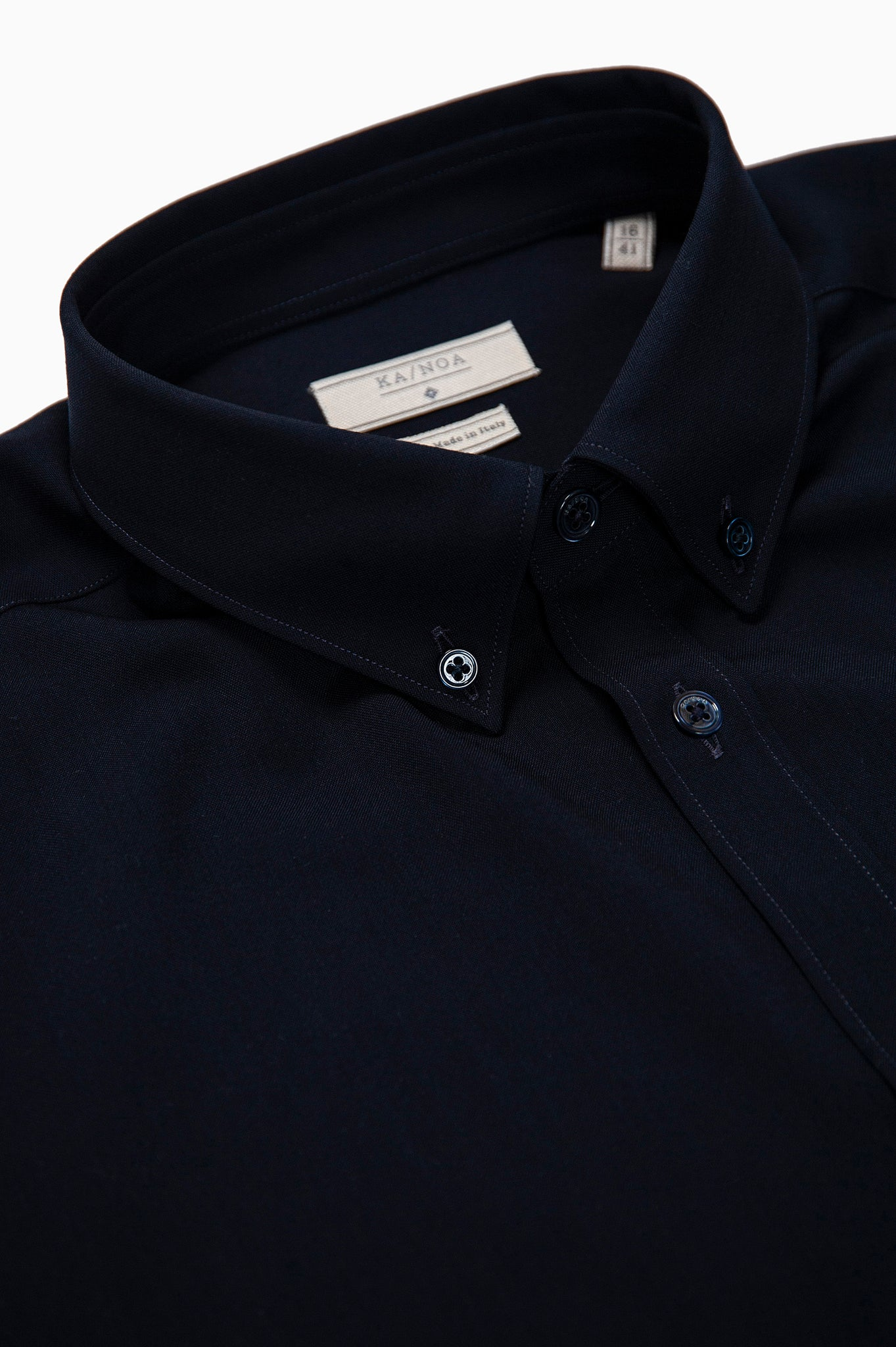 Sandre shirt botton down twill wool (dark blue)