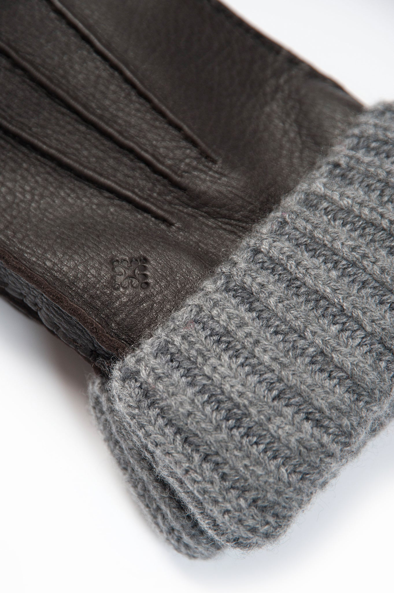 Victor 100% Soft Deer and Interior in Cashmere Gloves (dark brown and grey melange)