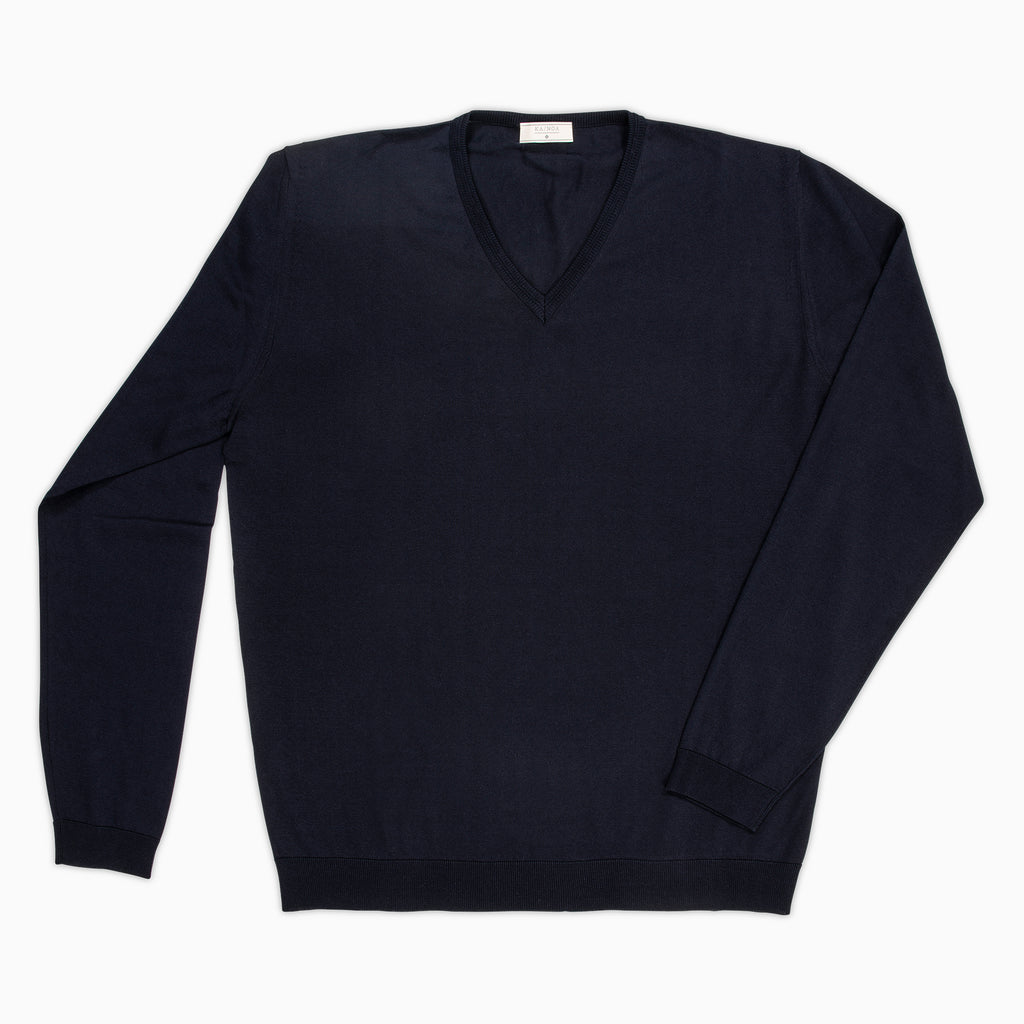 Andre V-neck jumper Compact Cotton (Dark Blue)
