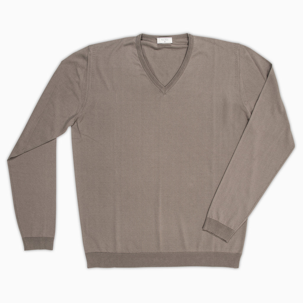 Andre V-neck jumper Compact Cotton (Mud Grey)