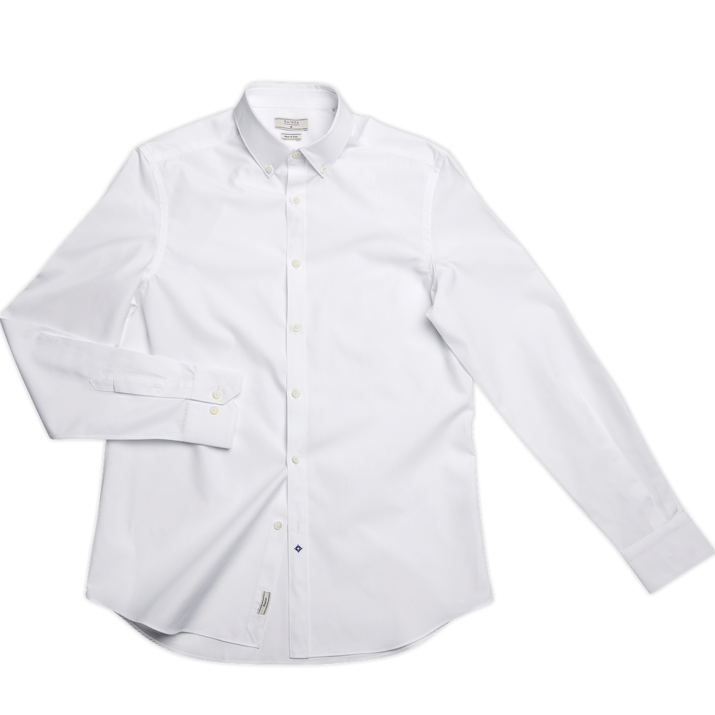 Sandre shirt botton down cotton popeline (ice white)