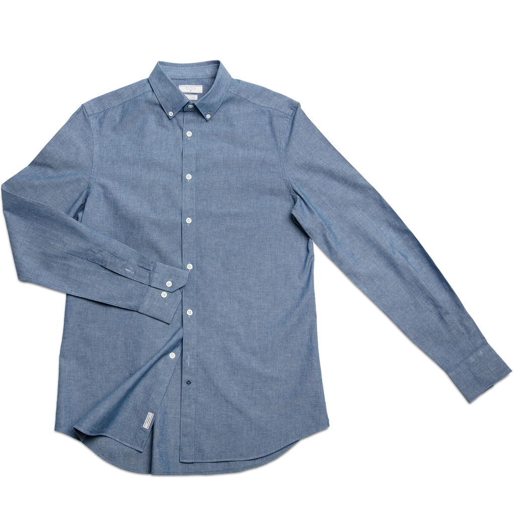 Sandre shirt botton down indigo cotton (ocean blue)