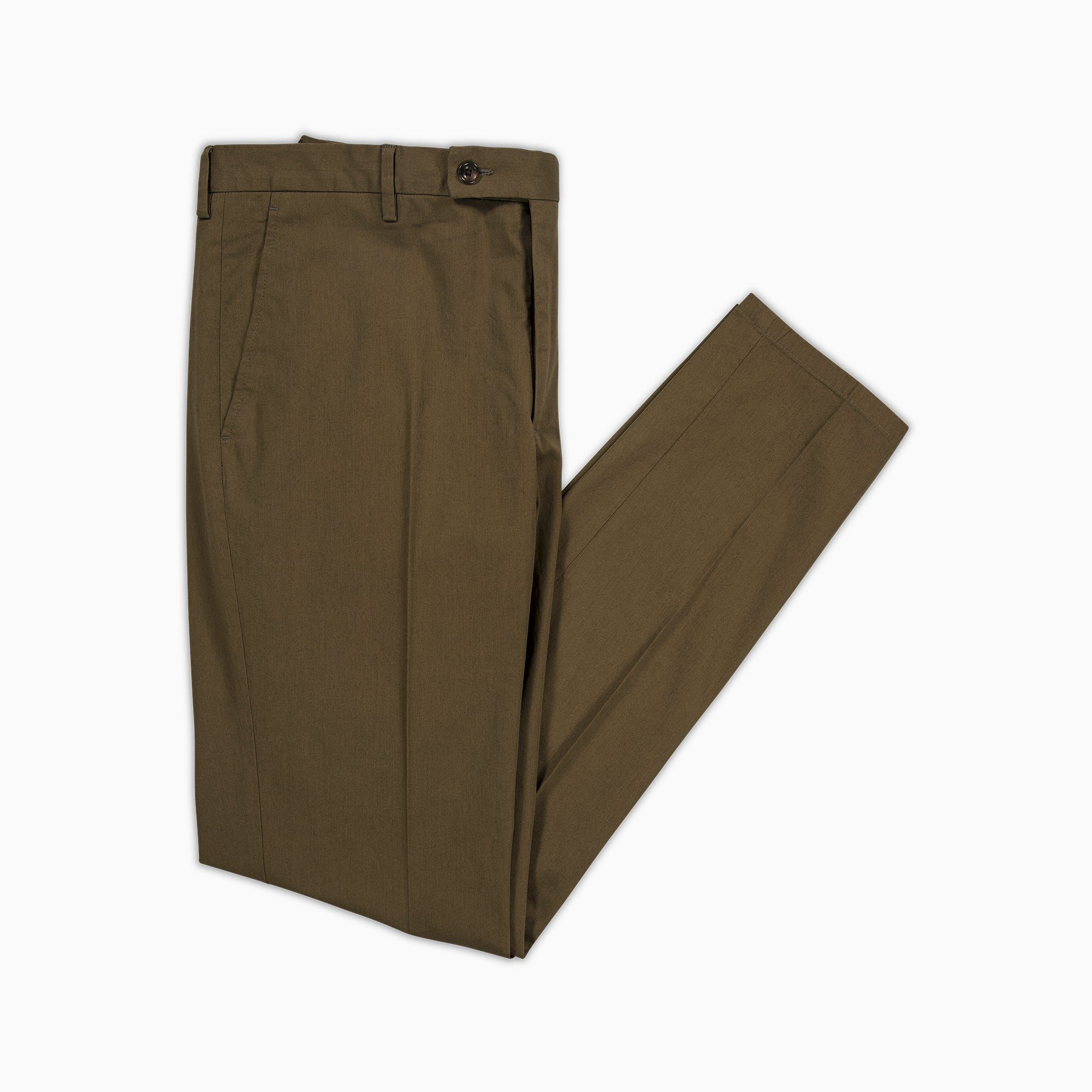 Boris Chino Pants Fine Stretch Cotton Gabardine (Military Green)