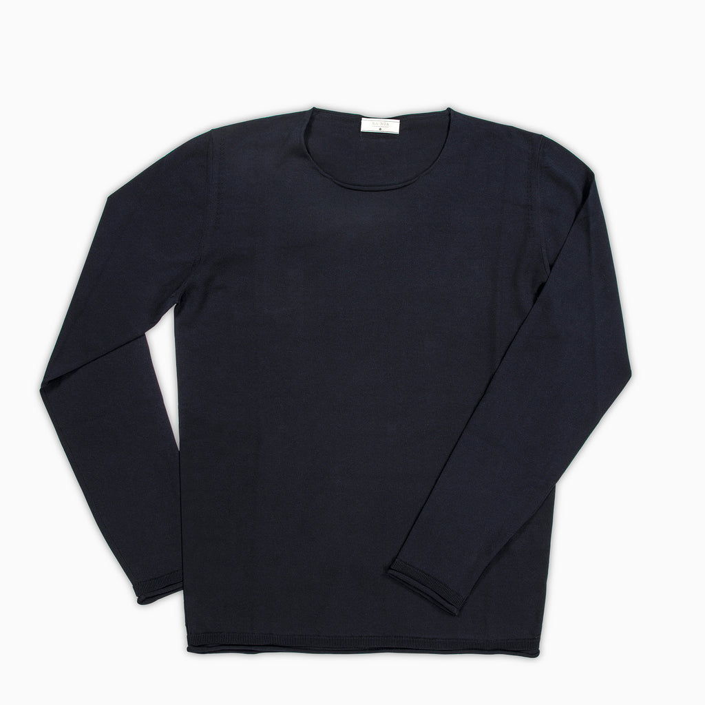 Andreieu crew-neck jumper Compact Cotton (Dark Blue)