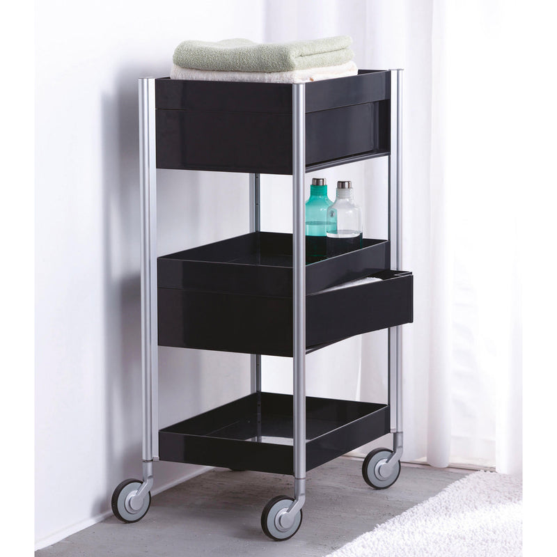 Studio Domo Ally High 3 Drawers Trolley, black