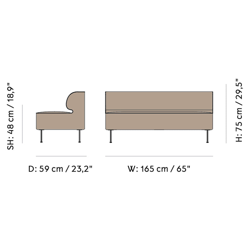 Menu Eave Dining Sofa 165 , Sacho Moss 018-Black Steel