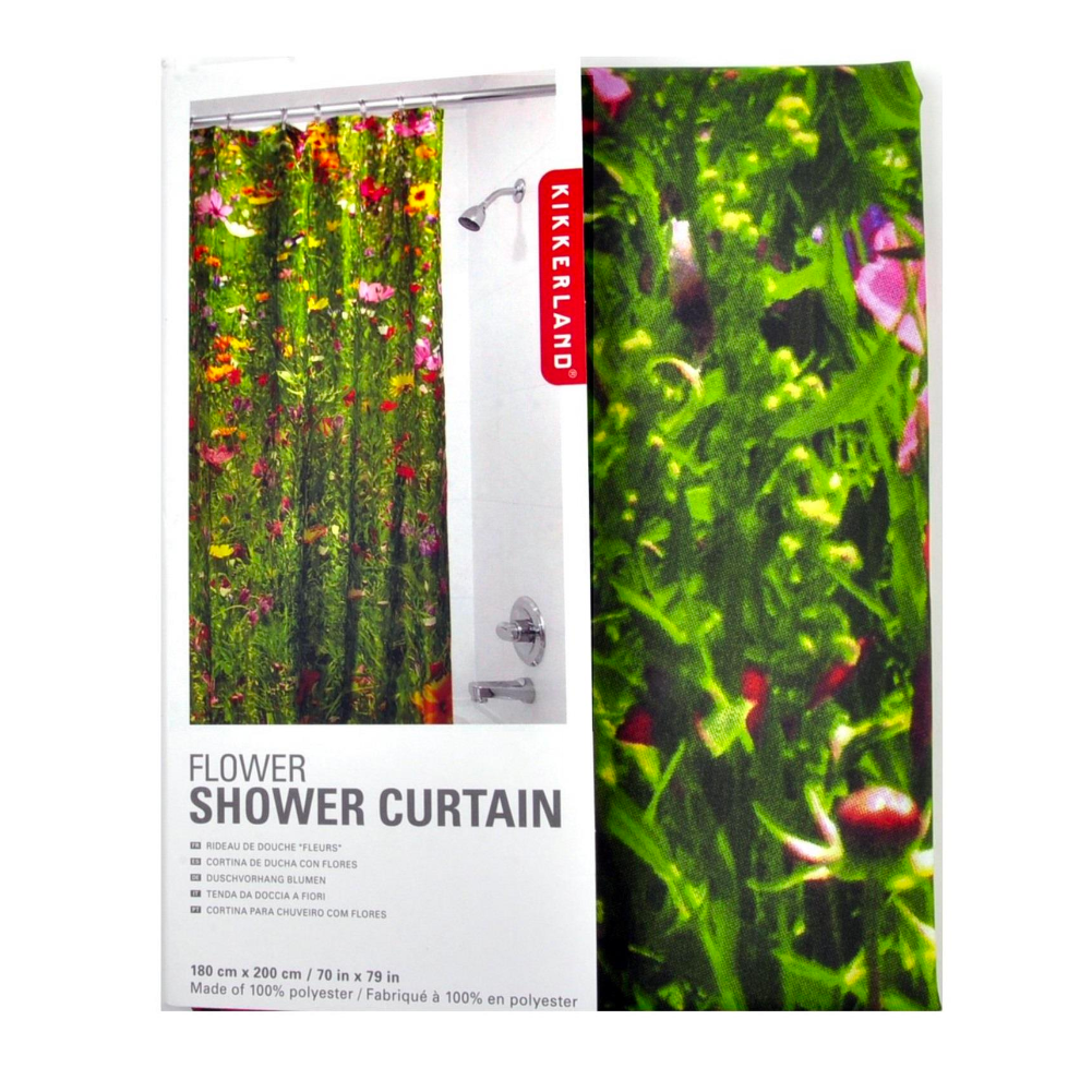 Kikkerland Flowers Shower Curtain