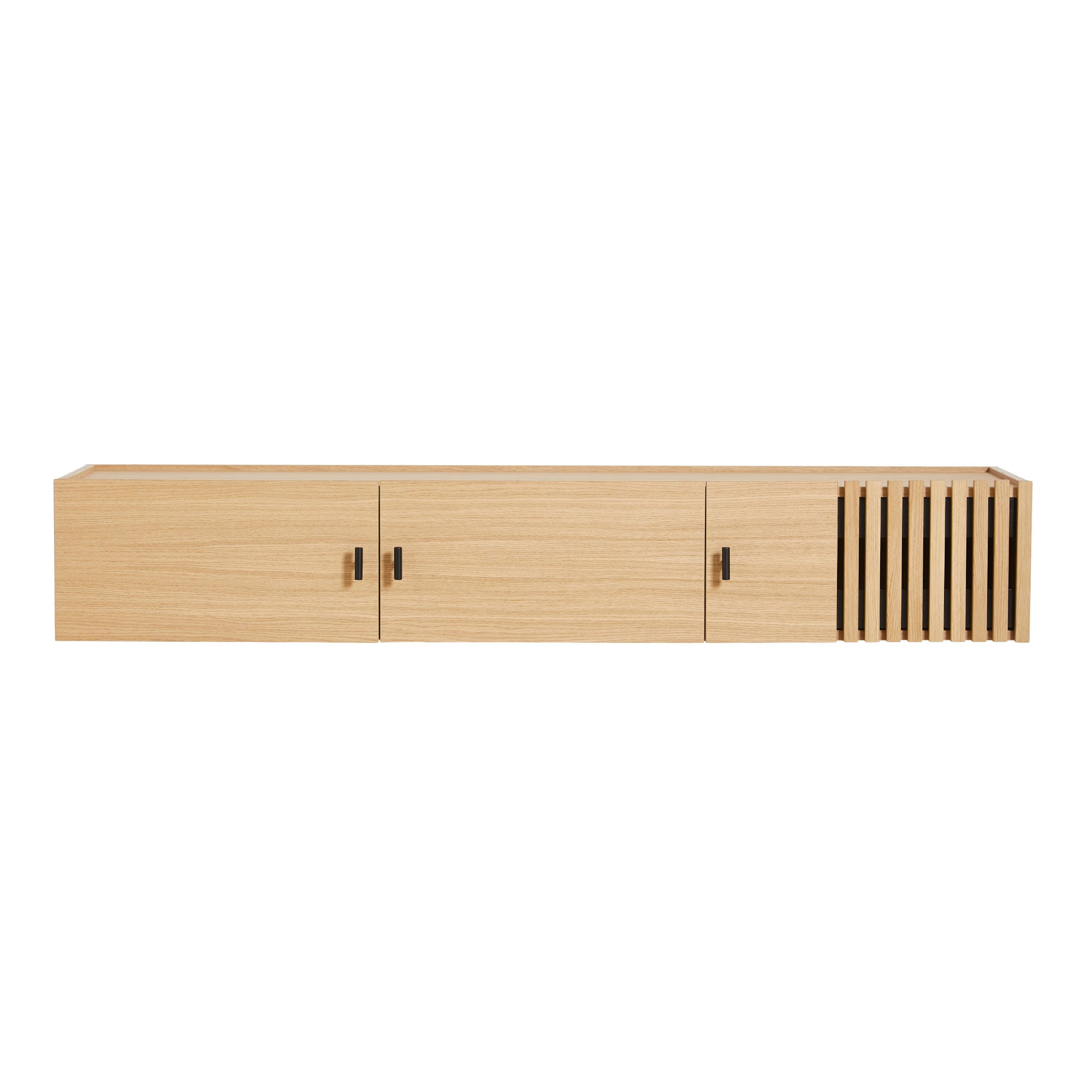 Woud Array Low Sideboard 150cm Wall-Mounted , White Pigmented Oak