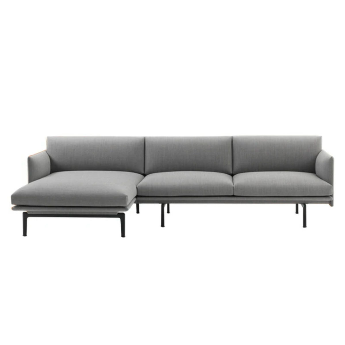 Muuto Outline sofa chaise longue, black base, left
