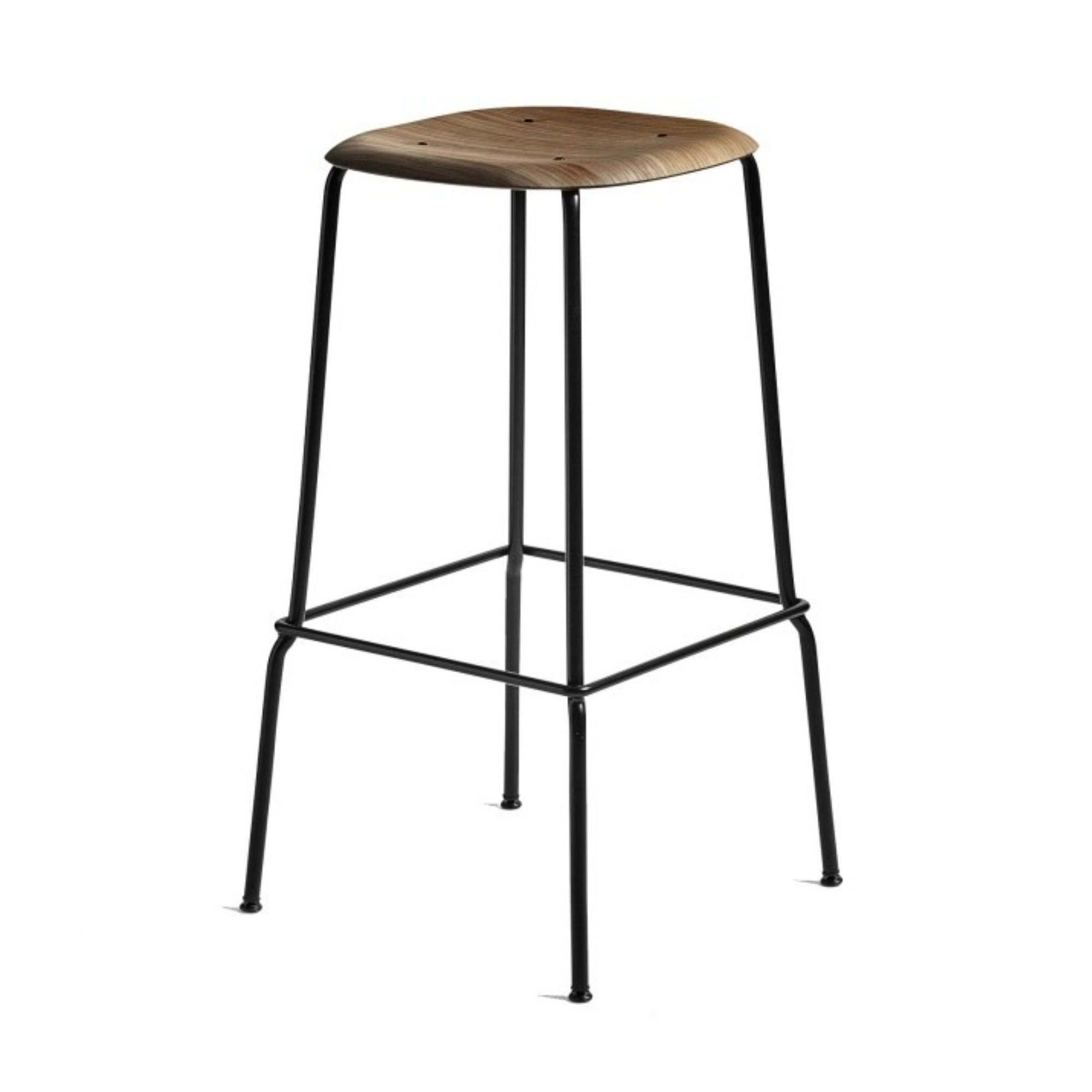 HAY Soft Edge30 Bar Stool 75cm , Smoked Oiled Oak/Black