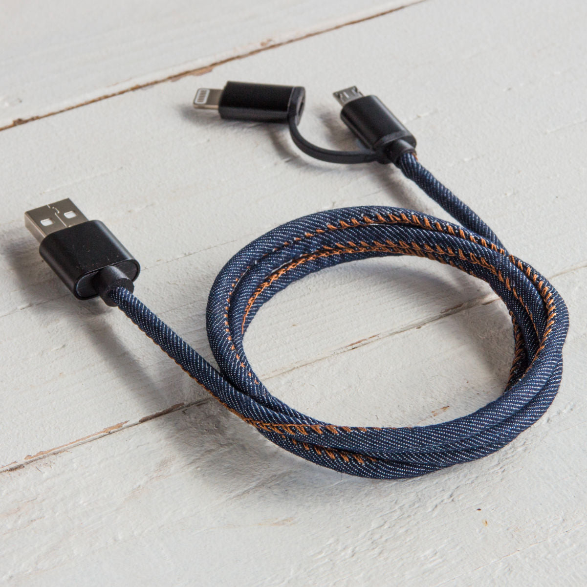 Suck UK 2-in-1 charging cable, denim, lightning for iPhone