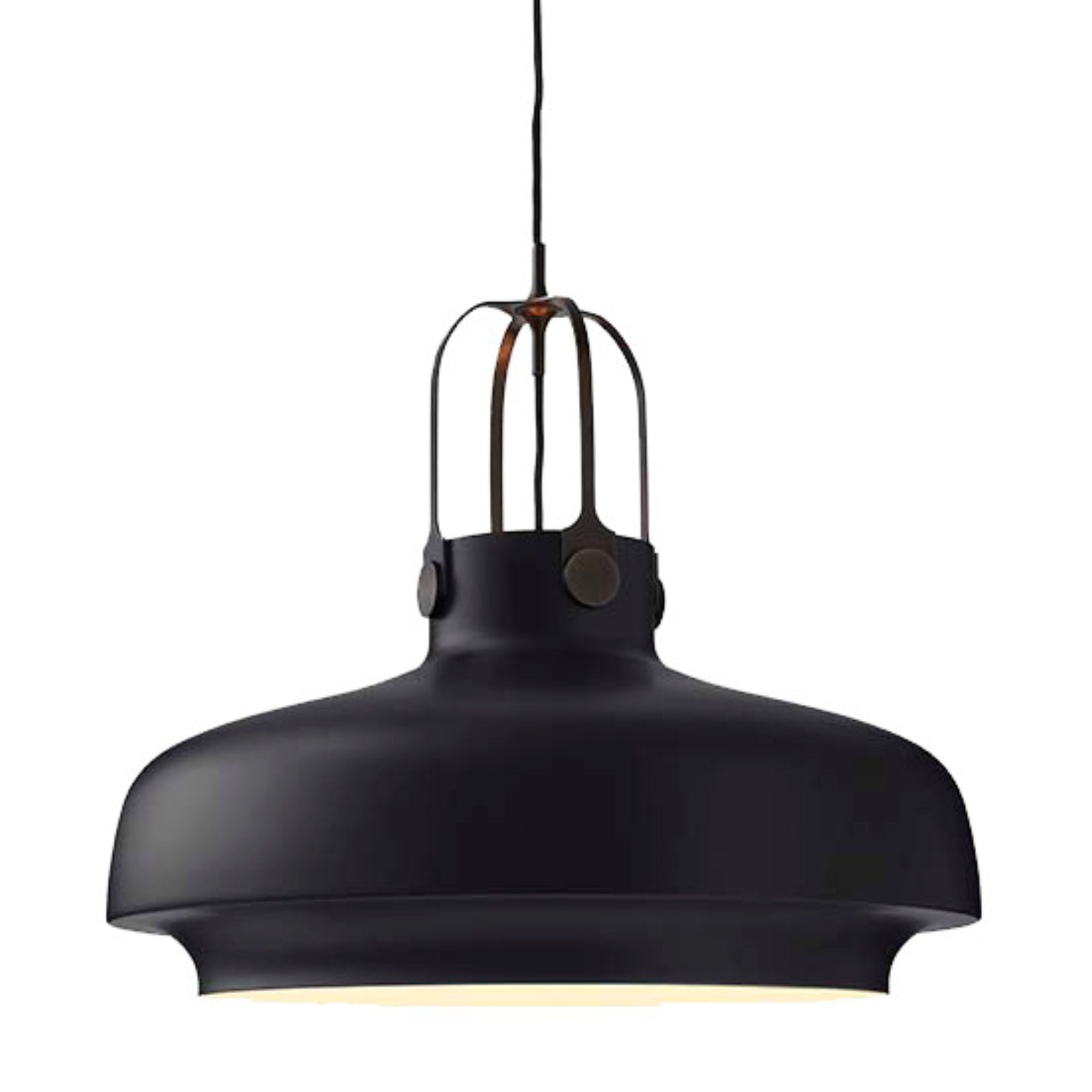 SC8 Copenhagen pendant light, matt black - bronzed brass suspension