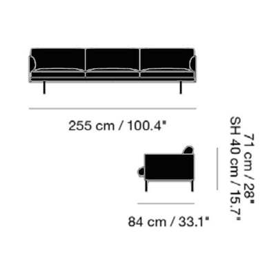 Muuto Outline Sofa 3 1/2-Seater Black Base , Refine Leather Black