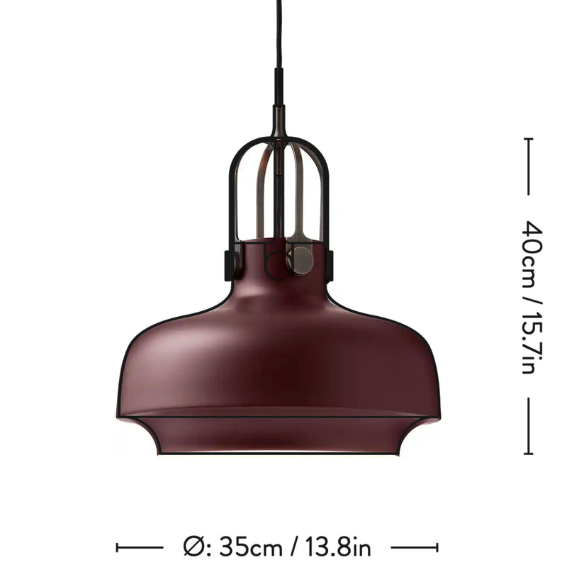 &Tradition SC7 Copenhagen pendant light, matt plum - bronzed brass suspension