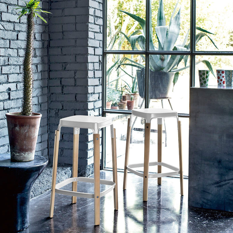 Magis Steelwood Bar Stool white 68cm