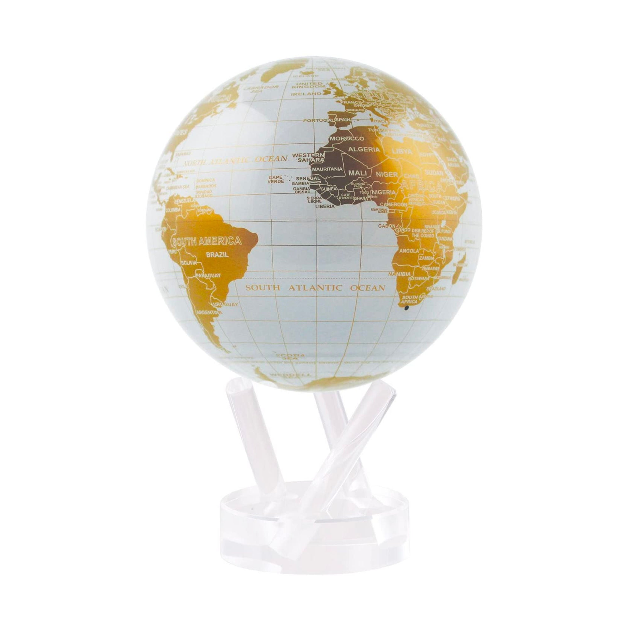 "MOVA Rotating Globe 4.5"" , White-Gold"