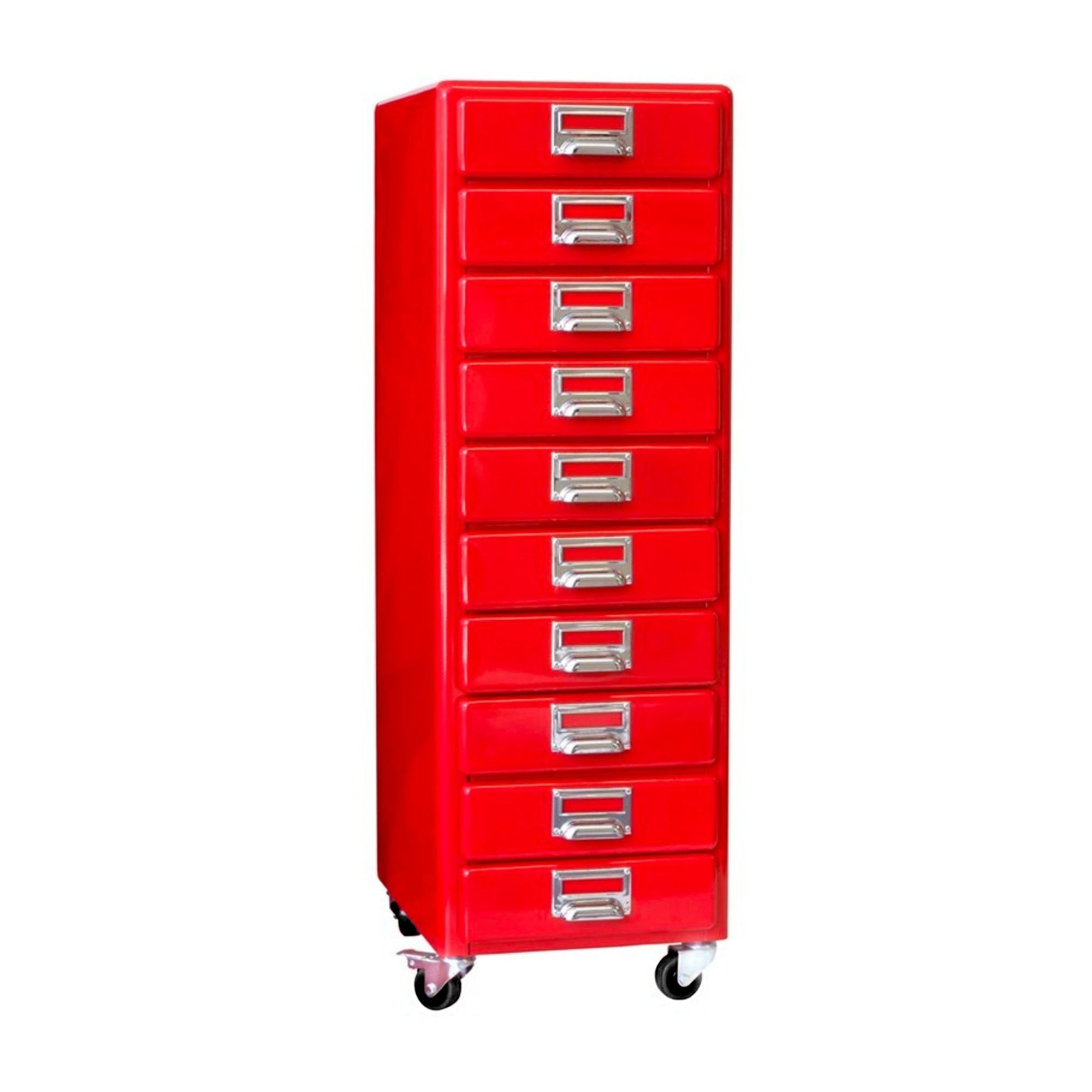 Dulton 10 Drawers Chest, red