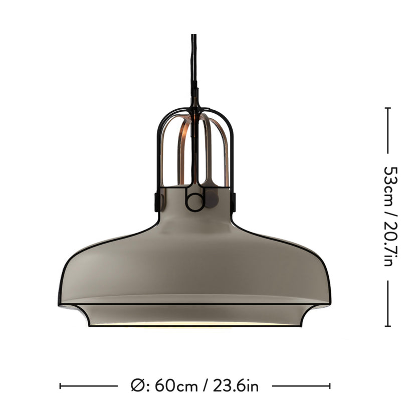 &Tradition SC8 Copenhagen pendant light, stone grey - bronze brass suspension