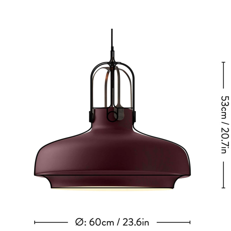&Tradition SC8 Copenhagen pendant light, matt plum - bronze brass suspension